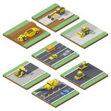 Isometric elements infographic showing the stages of construction or maintenance road with the appropriate using the technique. Vector grpahic illustration Royalty Free Stock Photo