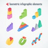 Isometric elements of infographics. Isometric 3d vector charts. Pie chart, donut chart, layers graphs, pyramid diagram. Infographic presentation, design data Stock Images