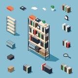 Isometric elementy i bookcase ilustracja wektor