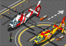 Isometric Emergency Helicopters in Front View Stock Image