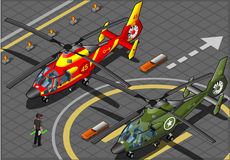 Isometric Emergency and Military Helicopters in Front View Stock Photos