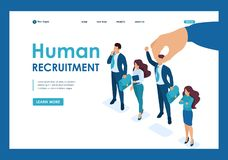Isometric Employer hand choosing man from selected group of people, recruiting concept. Template Landing page.  vector illustration