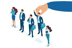 Isometric Employer hand choosing man from selected group of people, recruiting concept. Concept for web design.  stock illustration