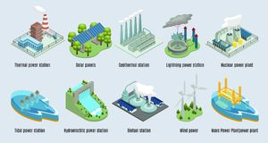 Isometric Environmental Eco Plants Set. With factories and stations which using alternative energy sources vector illustration stock illustration