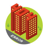 Isometric error 404 buildings isolated vector illustration Royalty Free Stock Image