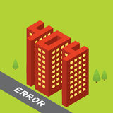 Isometric error 404 buildings isolated vector illustration Stock Photography