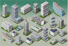 Isometric European Buildings royalty free stock photography