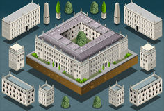 Isometric European historic building Stock Photos