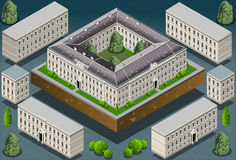 Isometric European historic building Royalty Free Stock Images