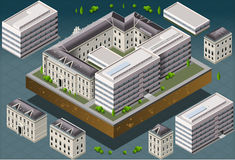 Isometric European Historic Building. Detailed illustration of a Isometric European historic building Stock Photography
