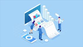Isometric Expert team for Data Analysis, Business Statistic, Management, Consulting, Marketing. Landing page template