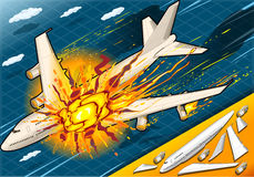 Isometric Explosion of Airplane Falling Down Royalty Free Stock Photography
