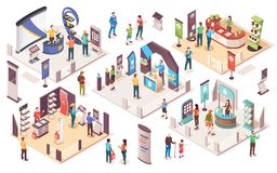 Free Isometric Expo, People At Exhibition Trade Center Royalty Free Stock Images - 164827289