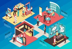 Exhibition Showcase Isometric Concept. Isometric expo stand exhibition horizontal composition with text and images of different exhibit booths with people vector royalty free illustration
