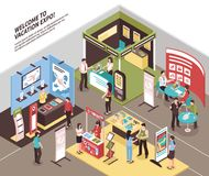 Travel Agents Exhibition Background. Isometric expo stand exhibition illustration with view of exhibit area with booth for different tour agencies vector stock illustration
