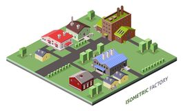 Isometric factory buildings Royalty Free Stock Photography