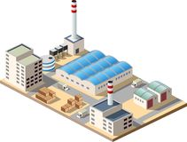Isometric factory. Consists of a hangar, boiler, boiler room and storage Royalty Free Stock Photos