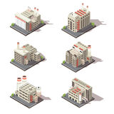 Isometric Factory Icon Set. Colored isolated 3d isometric factory icon set with industrial building in city vector illustration Royalty Free Stock Images