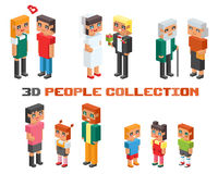 Isometric family couples children, kids people. 3d isometric family couples children, kids people concept flat icons. Flirting, love, first date, wedding and Royalty Free Stock Photography