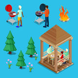 Isometric Family Grill BBQ People Cooking Meat royalty free illustration