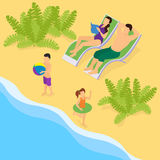 Isometric Family On Vacation Template Royalty Free Stock Photo