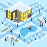 Isometric Family On Winter Holidays Template Royalty Free Stock Photos