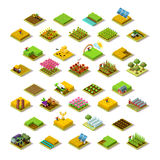 Isometric Farm 3D Building Icon Collection Vector Illustration. Isometric farm house building staff farming agriculture scene 3D icon set collection vector Royalty Free Stock Photo