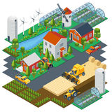 Isometric farm scene. Village setting with Stock Photography