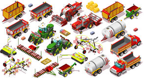 Isometric Farm Vehicle 3D Icon Set Collection Vector Illustratio Royalty Free Stock Image
