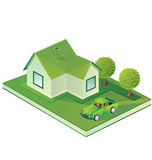 Isometric  farmhouse. Perspective view of the farmhouse in shades of green Stock Images
