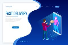 Isometric Fast Delivery Service, Online Delivery, Online Shopping, Finance Instrument web banner concept. Modern vector. Illustration foe website or lending vector illustration