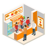 Isometric fast food restaurant. Set of object stock illustration