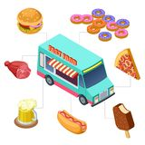Isometric fast food truck, burger, donuts, beer, bbq vector elements. Vehicle street truck, food burger and pizza illustration royalty free illustration