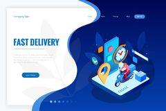 Isometric Fast and Free Delivery by Man Ride Scooter concept. Food service. Website Banner, vector illustration.  vector illustration