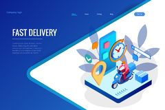 Isometric Fast and Free Delivery by Man Ride Scooter concept. Food service. Website Banner, vector illustration.  stock illustration