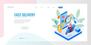 Isometric Fast and Free Delivery by Man Ride Scooter concept. Food service. Website Banner, vector illustration.  royalty free illustration