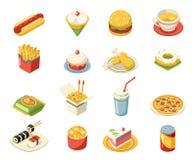 Isometric fasta food 3d ikony ustawiają płaską projekta projekta wektoru ilustrację ilustracji