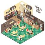 Isometric Fastfood Restaurant Interior Royalty Free Stock Image
