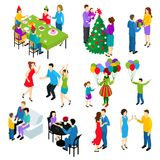 Isometric Festive People Set. Isometric set of isolated people characters celebrating holidays with couples friend groups children colorful decorations balloons Royalty Free Stock Photos