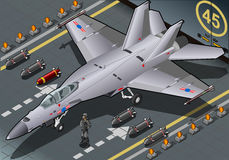 Isometric Fighter Bomber Landed in Front View Royalty Free Stock Photo