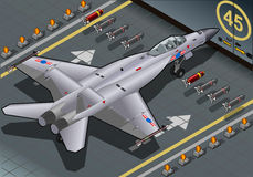 Isometric Fighter Bomber Landed in Rear View stock illustration