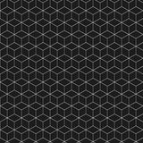 Isometric figure. Black and white background. Abstract seamless pattern. Isometric linear geometric figure. Black and white background. Vector illustration Stock Photos