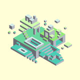 Isometric figures on a yellow background. Volume structure. Shades of green. The forms of blocks Royalty Free Stock Image
