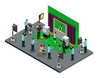 Isometric Filming Process Concept. With director operators illuminators and actors making robbery scene of movie vector illustration Royalty Free Stock Photography