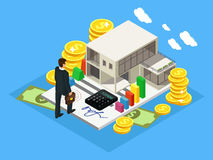 Isometric Finance And Investment Concept. With successful businessman cottage gold coins cash money calculator  vector illustration Royalty Free Stock Photography