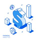 Isometric financial analysis and growth line style concept. Isometric financial analysis and growth line style design concept Stock Photo