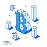 Isometric financial analysis and growth line style design concept. Isometric bitcoin investment and growth line style design concept Stock Images