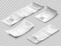 Isometric financial check. Payment checks, thermal printed rolled paper receipt and payments receipts isolated realistic royalty free illustration