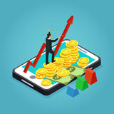 Isometric Financial Development Concept. Isometric financial development and management concept with businessman growing arrow money gold coins on mobile screen Stock Images