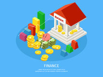Isometric Financial Elements Concept. With bank building dollar stacks gold coins colorful graphs piggy money box  vector illustration Stock Image